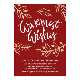 Fête de vacances rouge de calligraphie de souhaits carton d'invitation  12,7 cm x 17,78 cm