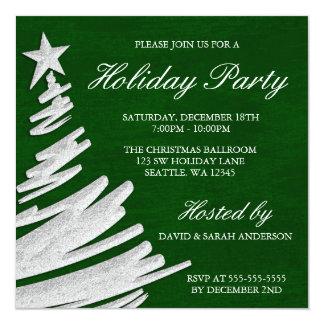 Fête de vacances verte et argentée d'arbre de Noël Carton D'invitation 13,33 Cm