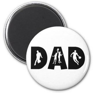 Fête des pères de papa de basket-ball magnet rond 8 cm