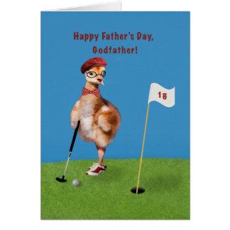 Fête des pères, parrain, oiseau humoristique carte de vœux