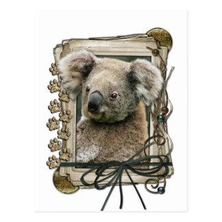Fête des pères - pattes en pierre - koala carte postale