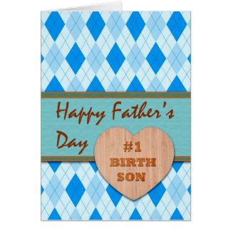 Fête des pères pour le fils de naissance, coeur en carte de vœux