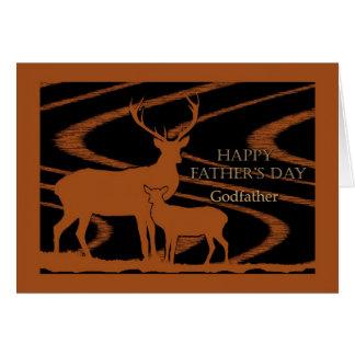 Fête des pères pour le parrain, cerf commun dans l cartes de vœux