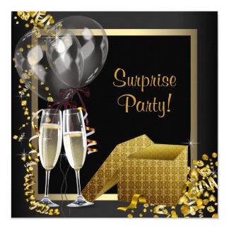Fête d'or de noir de confettis de Champagne Invitations Personnalisées