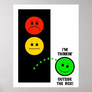 Feu d'arrêt déprimé pensant en dehors de la boîte poster