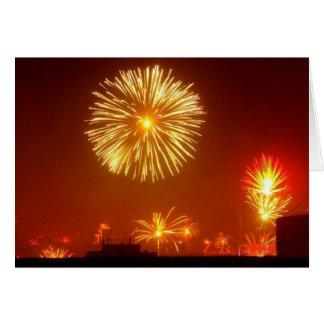 Feu d'artifice pour le nouvel an - carte de vœux