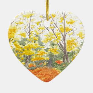 Feuillage d'automne dans Adlershof Ornement Cœur En Céramique