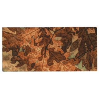feuillage d'automne d'orange de feuille d'automne clé USB 2.0 en bois