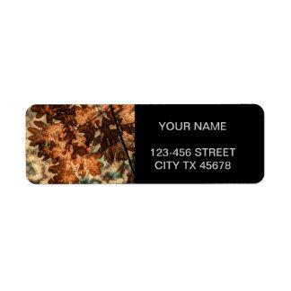 feuillage d'automne d'orange de feuille d'automne étiquettes d'adresse retour