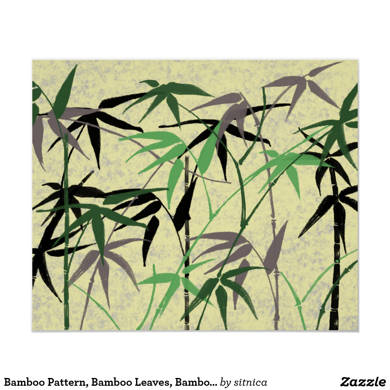 feuillage en bambou tiges feuille jaune vert poster zazzle. Black Bedroom Furniture Sets. Home Design Ideas
