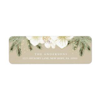 Feuillage floral d'aquarelle botanique de Noël Étiquette D'adresse Retour