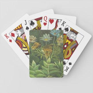 Feuillage tropical d'impression d'art de lion de cartes à jouer