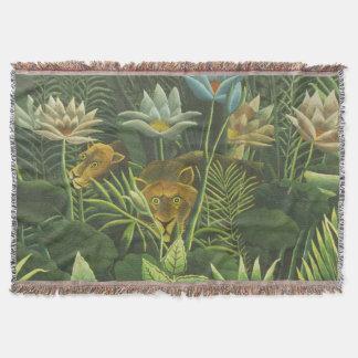 Feuillage tropical d'impression d'art de lion de couvre pied de lit