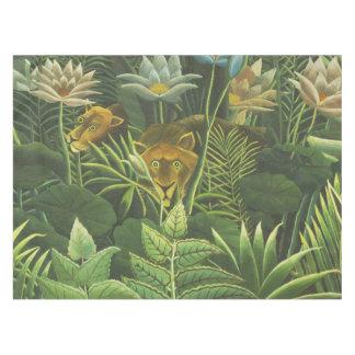 Feuillage tropical d'impression d'art de lion de nappe