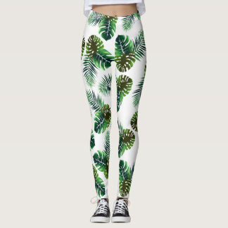 Feuillage tropical élégant de jungle de feuille leggings