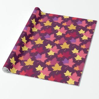Feuille automnal d'automne modelé papier cadeau noël