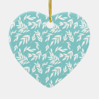 Feuille blanc dans le bleu en bon état ornement cœur en céramique