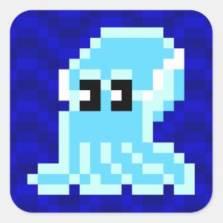 Feuille bleue d'autocollant de Joe de seiches de Sticker Carré