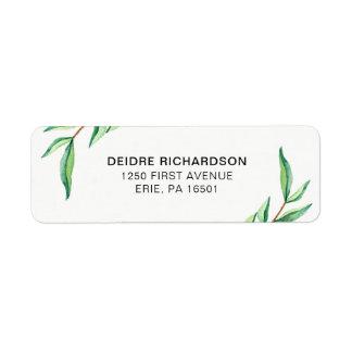 Feuille botanique vert minimaliste sur le blanc étiquette d'adresse retour