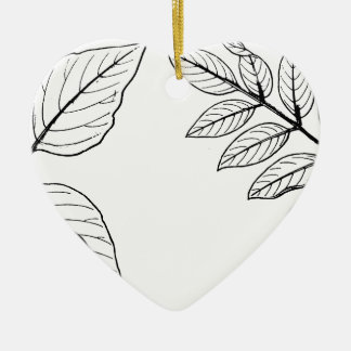 Feuille botanique vintage ornement cœur en céramique