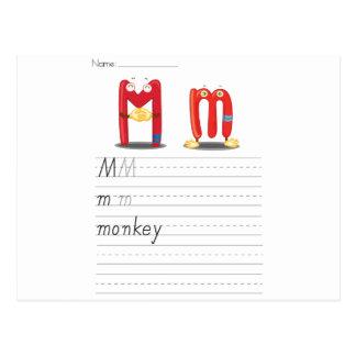 Feuille d'alphabet carte postale