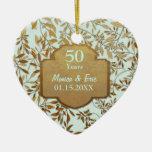 Feuille d'anniversaire de mariage d'or cinquantièm ornement