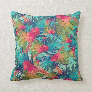 Feuille d'aquarelle et oreiller tropicaux de fleur