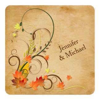 Feuille d'automne abstrait, faire-part de mariage