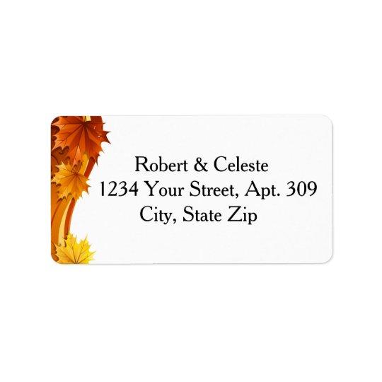 Feuille d'automne de cascade étiquettes d'adresse