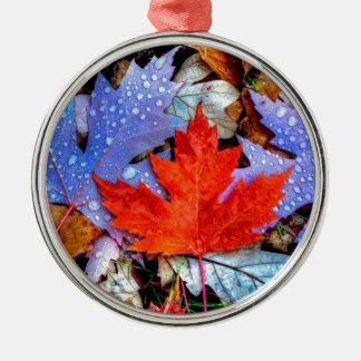 Feuille d'automne ornement rond argenté
