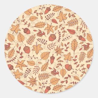Feuille d'automne sticker rond
