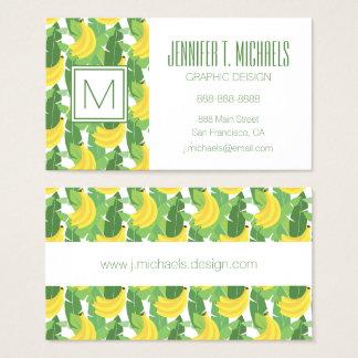 Feuille de banane et monogramme du motif | de cartes de visite