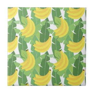 Feuille de banane et motif de fruit petit carreau carré
