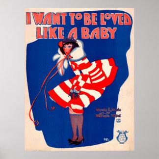 feuille de chanson des années 1920 où je veux être poster