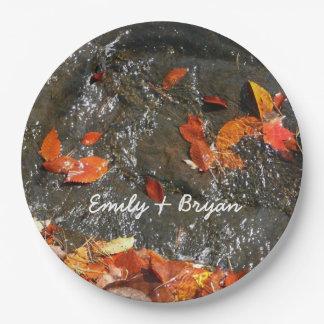 Feuille de chute dans la photographie d'automne de assiettes en papier