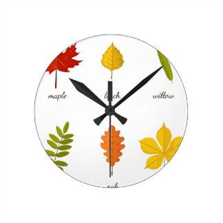 feuille de chute horloge ronde