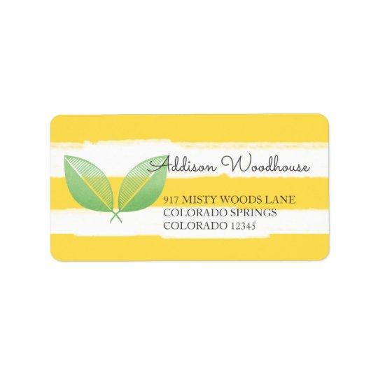 Feuille de citron jaune et vert | personnalisé étiquette d'adresse