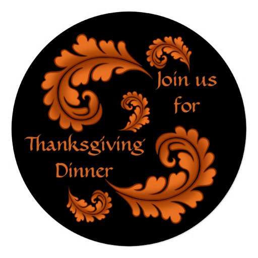 Feuille de damassé d'automne sur le dîner noir de invitations