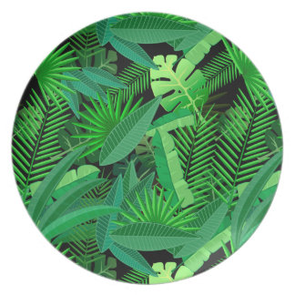 Feuille de palmiers tropicaux assiettes en mélamine