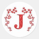 Feuille de rouge de la lettre J de monogramme Adhésif Rond