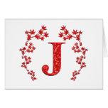 Feuille de rouge de la lettre J de monogramme Cartes De Vœux