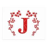 Feuille de rouge de la lettre J de monogramme Carte Postale