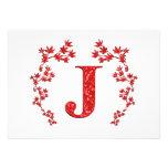 Feuille de rouge de la lettre J de monogramme Cartons D'invitation Personnalisés
