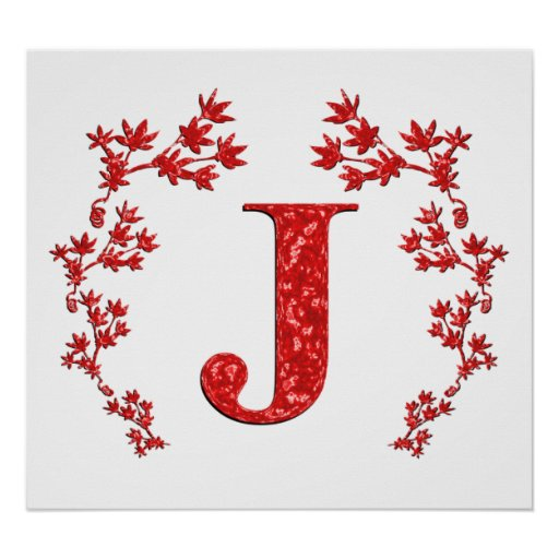 Feuille de rouge de la lettre J de monogramme Poster