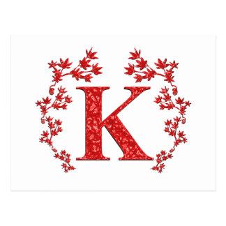 Feuille de rouge de la lettre K de monogramme Carte Postale