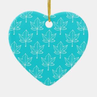Feuille de turquoise ornement cœur en céramique