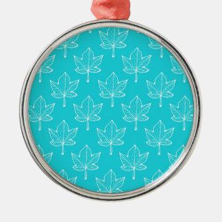 Feuille de turquoise ornement rond argenté