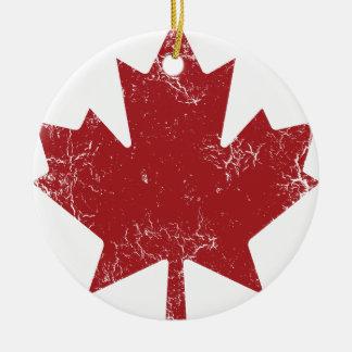 Feuille d'érable canadienne (affligée) ornement rond en céramique