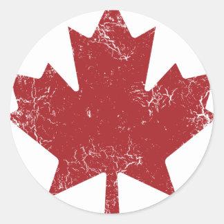Feuille d'érable canadienne (affligée) sticker rond