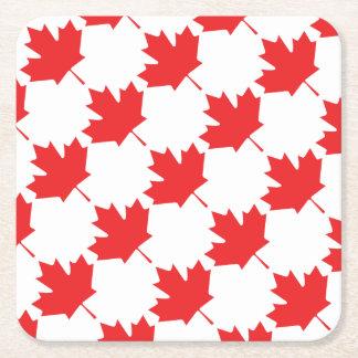 Feuille d'érable canadienne dessous-de-verre carré en papier